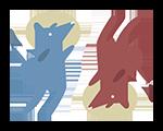Auditiv Litteraturformidling logo - 2 hunde